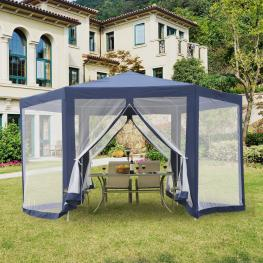 Outsunny Carpa Gazebo Tipo Cenador Hexagonal Con Mosquitera Para Jardín y Terraza φ3.9M Material de Poliéster Repelente Al Agua  - Color: Azul