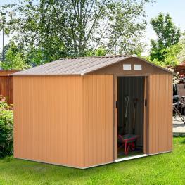 Outsunny® Caseta de Jardín Para Almacenamiento de Herramientas 277X181X192Cm<br> - Color: Marron Claro