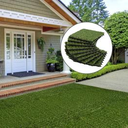 Outsunny® Césped Artificial Terraza Alfombra de Hierba Sintética 10 Piezas - Color: Verde