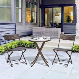 Outsunny Conjunto de Mesa y 2 Sillas Muebles Ratán Para Jardín Exterior Patio Terraza Plegable Poli Ratán Marco Acero  - Marrón  - 61X46X84Cm  - Color