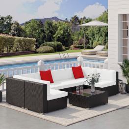 Outsunny® Conjunto Muebles de Jardín Ratán 7 Piezas Set de Sofás Patio Con 1 Mesita Almohada y Cojín Marrón<br> - Color: Marrón Oscuro