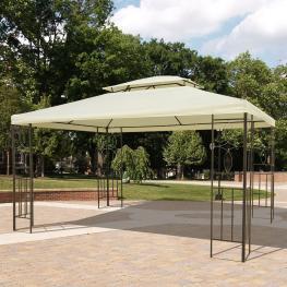Outsunny Gazebo Cenador Para Terraza Jardín Patio  - Tipo Carpa Pabellón Para Fiesta  - 3X4X2.65M  - Color: Crema
