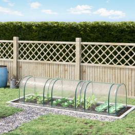 Outsunny® Invernadero Caseta 350X100X80Cm Para Jardín Terraza Cultivo de Plantas Semilla Invernadero de Jardín Acero y Pvc - Color: Transparente
