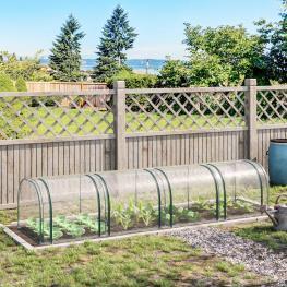 Outsunny® Invernadero Caseta 400X100X80Cm Para Jardín Terraza Cultivo de Plantas Semilla Invernadero de Jardín Acero y Pvc - Color: Transparente