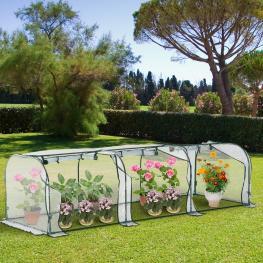 Outsunny® Invernadero Caseta Para Jardín Terraza Cultivo de Plantas 300X100X80Cm Marco Acero y Pvc<br> - Color: No