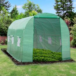 Outsunny Invernadero de Cultivo Para Terraza O Jardín<br> - Color Verde<br> - Tubo Acero y Pe 140G/㎡<br> - 450X200X200 Cm<br> - Color: Verde