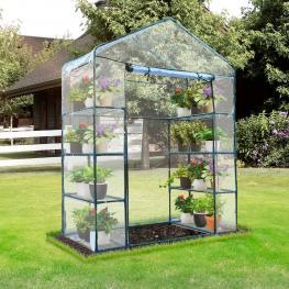 Outsunny Invernadero de Jardín Caseta Para Cultivos Plantas Tomates Flores 143X73X195Cm Tubo de Acero Cubierta Pvc -