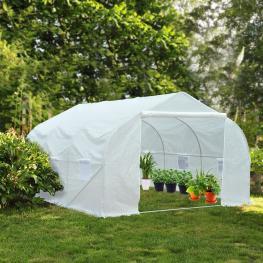 Outsunny Invernadero de Jardín Para Cultivo de Plantas - Color Blanco - Plástico - 350X300X200 Cm - Color: Blanco