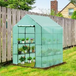 Outsunny® Invernadero de Jardín Vivero Casero Plantas Con 3 Pisos 143X143X195Cm Marco Acero Verde<br> - Color: Verde