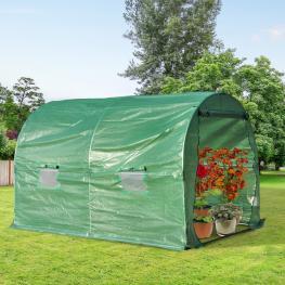Outsunny Invernadero de Jardín y Huerto Tipo Túnel Para Cultivos Plantas y Verduras Con 4 Ventanas Cubierta Pe 140G/㎡Y Marco de Acero<br> - 3X2X1.9M<b