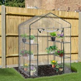Outsunny® Invernadero Transparente de Jardín Vivero Casero Plantas Con 3 Pisos 143X143X195Cm - Color: Transparente y Verde