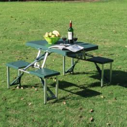 Outsunny Mesa de Camping Plegable Con 4 Asientos y Agujero Para Sombrilla Con Estructura de Aluminio Para Playa y Picnic<br> - 84.5X64.5X66Cm<br> - Co