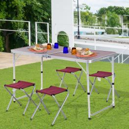 Outsunny Mesa Maleta de Aluminio 4 Taburete Plegable Portátil Para Acampada Picnic Jardín Terraza Conjunto Muebles Exterior Altura Ajustable  - Color: