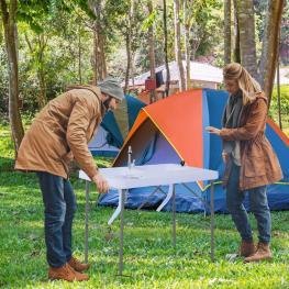 Outsunny® Mesa Plegable Multifuncional 2 En 1 Mesa+Estación de Limpieza Mesa de Picnic Con Grifo y 2 Fregaderos Para Pesca Jardín Camping Barbacoa Ext