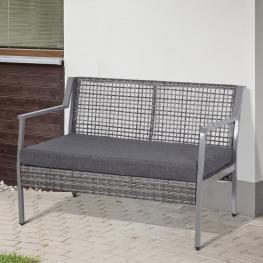 Outsunny® Sofá de Ratán Dos Plazas Con Cojín Desmontable Sillón Mueble de Jardín 118X75X79Cm Para Patio Exterior Al Aire Libre Gris - Color: Gris