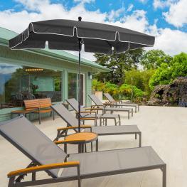 Outsunny Sombrilla Grande Parasol Reclinable 2.35M Sombrilla Impermeable y Resistente A Uv Para Jardín Patio Playa Piscina Terraza  - Color: Gris