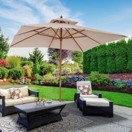 Outsunny® Sombrilla Parasol de Bambú Madera Para Jardín Terraza Patio Playa Doble Techo Rectángulo Mástil de 48Mm Crema 3X3M - Color: Beige