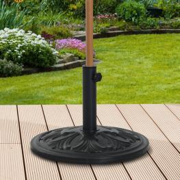 Outsunny® Soporte de Sombrilla Redondo Ajustable Universal Pie de Parasol de Cemento φ48X34Cm<br> - Color: Negro