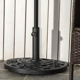 Outsunny® Soporte de Sombrilla Semicircular Ajustable Universal Pie de Parasol de Cemento Base de Sombrilla Patio Jardín Estilo Retro Hdpe φ50X32X32Cm