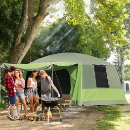 Outsunny Tienda de Campaña Familiar 4-8 Personas Carpa Grande Acampada Tipo Refugio Para Playa Picnic Portátil y Impermeable Con Bolsa de Transporte M