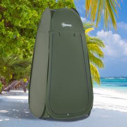 Outsunny Tienda de Campaña Instantánea Tipo Carpa Ducha Cambiador Wc Impermeable Para Camping - 100X100X185Cm - Color: Verde Oscuro