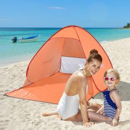 Outsunny Tienda de Campaña Pop-Up Instantánea y Portátil Con Ventanas Tipo Refugio Para Playa Picnic y Camping Con Protección Solar Uv - Color: Naranj