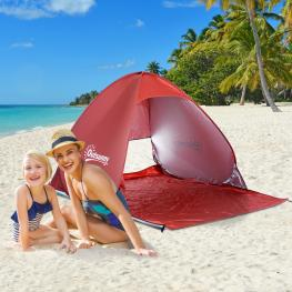 Outsunny Tienda de Campaña Pop-Up Instantánea y Portátil Con Ventanas Tipo Refugio Para Playa Picnic y Camping Con Protección Solar Uv<br> - Color: Ro