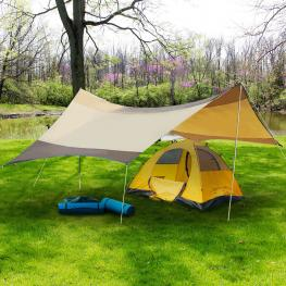 Outsunny Toldo de Refugio Impermeable Portátil Carpa Tienda de Campaña Grande Para Camping Playa Pesca Picnic Protección Solar - 5.5X5.6M -