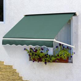 Outsunny® Toldo de Ventana Toldo Manual de Aluminio Retráctil Para Exterior Toldo de Balcón ángulo Ajustable Tela de Poliéster 180X70Cm Verde<br> - Co