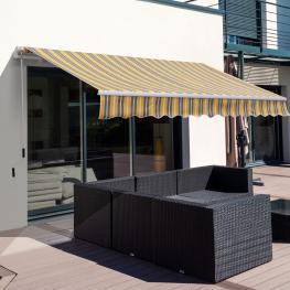 Outsunny Toldo Manual Plegable de Aluminio Toldo Patio Balcón Terraza Con Manivela Impermeable Protección Solar Uv Para Jardín Exterior Aluminio Acero