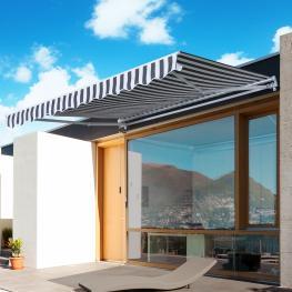 Outsunny Toldo Terraza Balcón Patio Toldo Manual Plegable de Aluminio Con Manivela Impermeable Protección Solar Uv Para Jardín Exterior Aluminio Acero