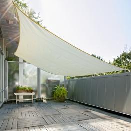 Outsunny Toldo Vela 3X4M Color Crema Sombrilla Parasol Cuadrado Terraza Jardin Camping  - Color: Crema