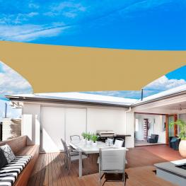 Outsunny® Toldo Vela Rectangular Para Exteriores Arena Tela Poliéster 160G/m2 4X6M  - Color: Color Arena