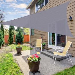Outsunny Toldo Vela Triángulo Para Terraza Jardín O Camping  - Color Gris  - Tela de Poliéster  - 3X3X3M  - Color: Gris