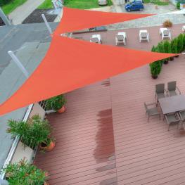 Outsunny Toldo Vela Triangulo Tipo Sombrilla O Parasol Para Terraza Jardín O Camping<br> - Color Naranja<br> - Tela de Poliéster<br> - 4X4X4M<br> - Co