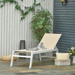 Outsunny Tumbona Para Exterior Con Ruedas Chaise Longue de Terraza Respaldo Regulable  - Color: Beige y Blanco