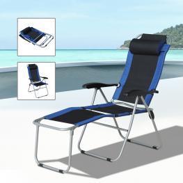 Outsunny Tumbona Reclinable y Plegable Para Camping Jardín Terraza Playa Piscina €� Acero y Oxford €� 177 X 58 X 108Cm - Color: Azul y Negro