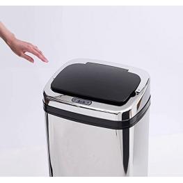 Papelera de 50L  - Cubo de Basura Con Sensor Detector Movimiento Automático Contenedor Acero  - Color: Negro y Plata