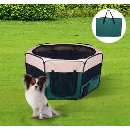 Parque de Juego Entrenamiento y Dormitorio Mascotas Perro Gato ?125 X 58 Cm - Color: Verde y Crema