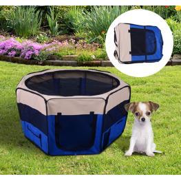 Parque de Juego Entrenamiento y Dormitorio Mascotas Perro Gato 125X125X58 Cm - Color: Azul y Crema
