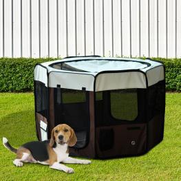 Parque Mascotas φ117X71Cm Juego Entrenamiento Dormitorio Perro Gato Cachorros<br> - Color: Cafe Crema