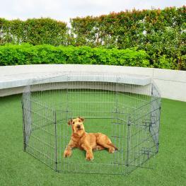 Parque Para Mascotas Valla Corral 8 Vallas 63X76Cm + Puerta Entrenamiento Perros<br> - Color: Plateado