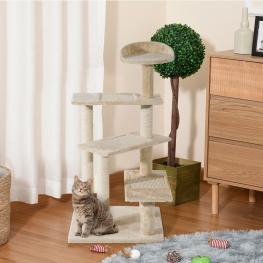 Pawhut árbol Para Gato Rascador Poste Para Arañar Con Cama Plataforma Con Manta de Sisal Terciopelo Beige  - 50X50X100Cm  - Color: Beige