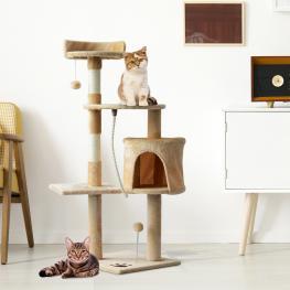 Pawhut® Árbol Para Gatos Con Plataformas Casetas Bolas de Juego Beige 40X40X114Cm - Color: Beige