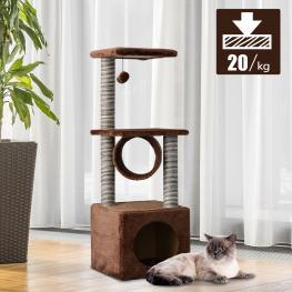 Pawhut® árbol Para Gatos Con Plataformas Casetas Bolas de Juego 35X35X104Cm Beige  - Color: Marrón