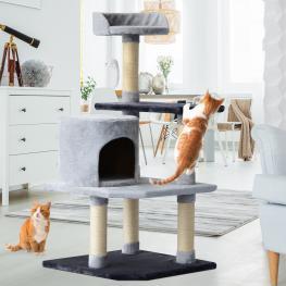 Pawhut® Árbol Para Gatos Con Plataformas Casetas Ratón de Juego Beige 48X48X100Cm - Color: Gris