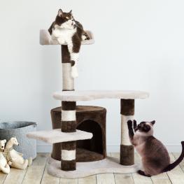 Pawhut® Árbol Para Gatos Juguete Rascador Con Caseta Plataformas Centro de Juego Para Arañar Jugar Dormir 48.5X48X69Cm - Color: Beige y Marrón