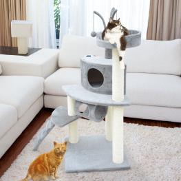 Pawhut Árbol Para Gatos Rascador 120Cm Con Caseta Plataformas Escalera Bolas de Juego Tablero de Madera Cubierto de Felpa Gris - Color: Gris
