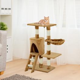 Pawhut® árbol Para Gatos Rascador Con Nido Plataforma Cuerda de Juego Marrón 30X55X96Cm<br> - Color: No