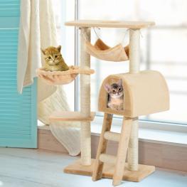Pawhut Árbol Para Gatos Rascador Con Poste Para Arañar Nido Hamaca Plataforma Caseta Escalera Terciopelo Sisal Natural - 55X30X100Cm - Color: Beige